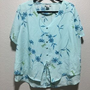 Momentum Light Blue Floral V-neck Layered Blouse